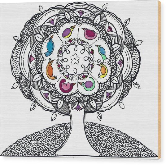 Tree Of Life - Ink Drawing Wood Print