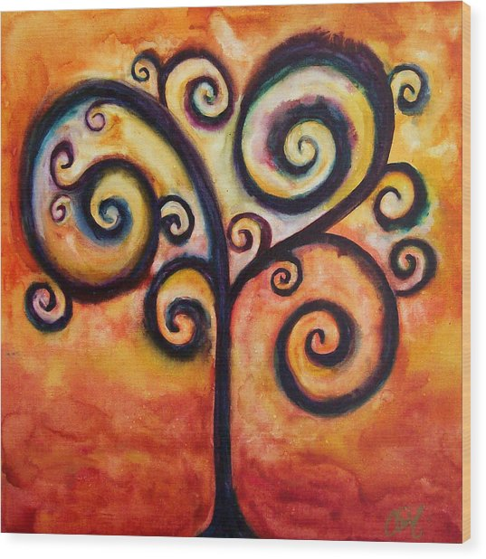 Tree Of Life Orange Wood Print by Christy Freeman Stark