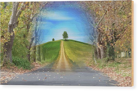 Tree On The Hill Montage Wood Print