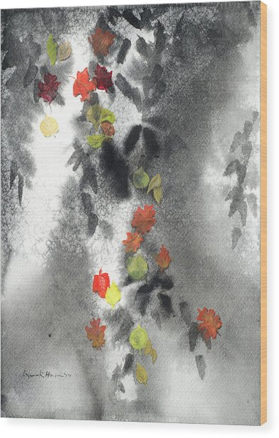 Tree Shadows And Fall Leaves Wood Print