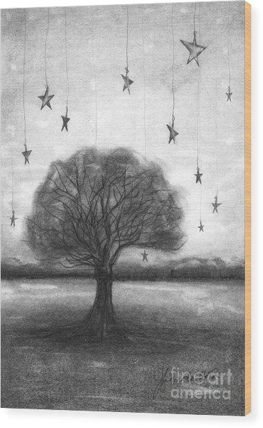 Tree Stars Wood Print