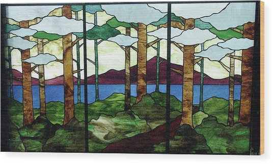 Wood Print featuring the glass art Tree Tryptic by Jane Croteau