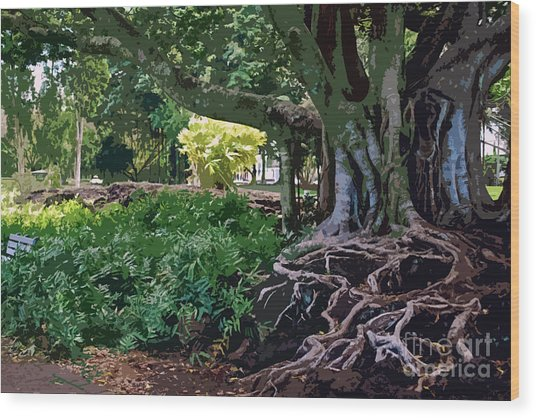 Tree With Roots Wood Print