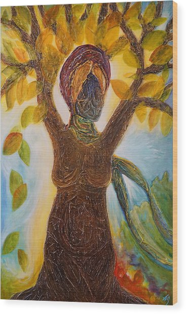 Tree Woman Wood Print