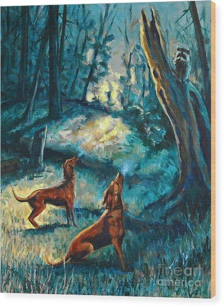 Treed At Dawn Wood Print