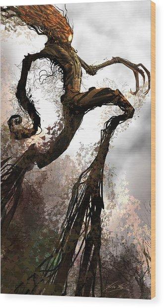 Treeman Wood Print by Alex Ruiz