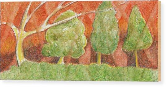 Trees In Light Wood Print by Linda Kay Thomas