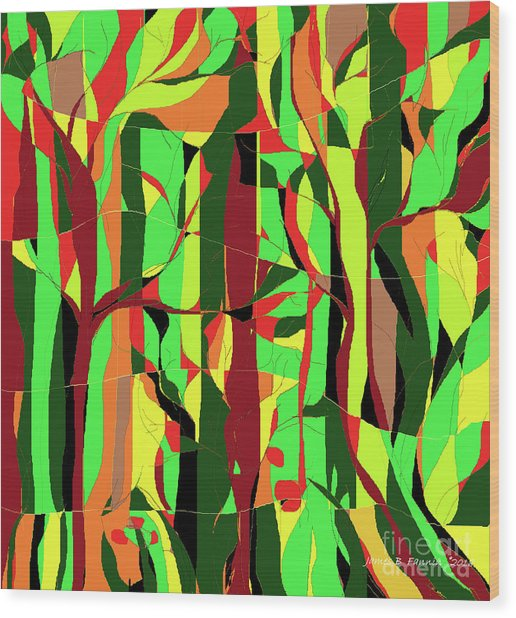 Trees In The Garden Wood Print