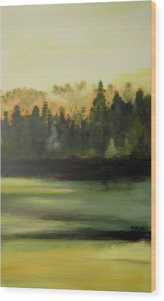 Trees In The Mist Wood Print by Marcia Crispino