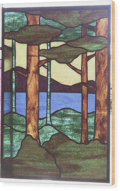 Wood Print featuring the glass art Trees by Jane Croteau