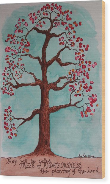 Trees Of Righteousness Illustration Wood Print by Amy Parker Evans