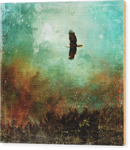 Treetop Eagle Flight Wood Print
