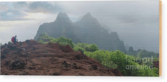 Trek Thru Kalalau Wood Print by RJ Bridges