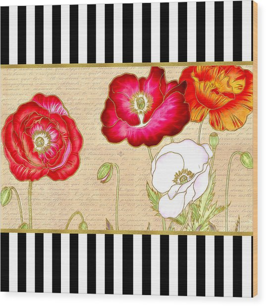 Trendy Red Poppy Floral Black And White Stripes Wood Print