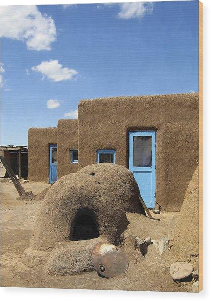 Tres Casitas Taos Pueblo Wood Print