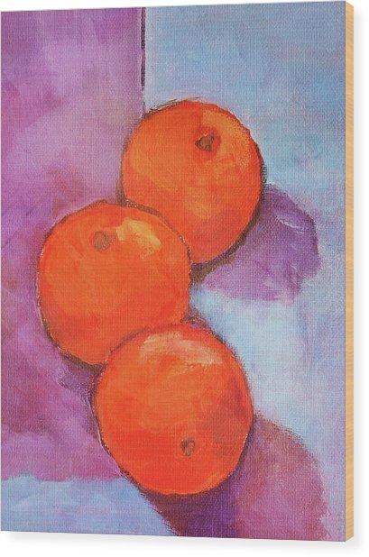 Tres Naranjas Wood Print by Arte Costa Blanca