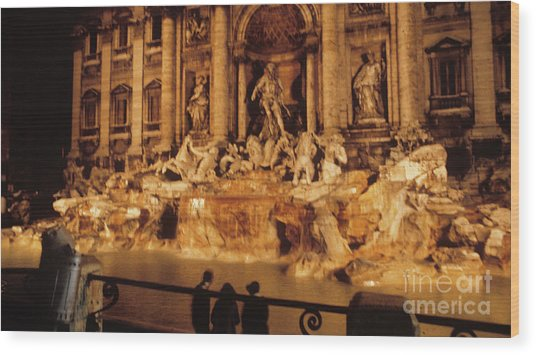 Trevi At Night Wood Print