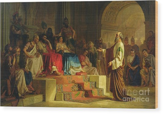 Trial Of The Apostle Paul Wood Print