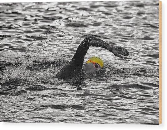 Triathlon Swimmer Wood Print