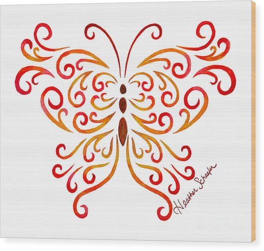 Tribal Butterfly Wood Print