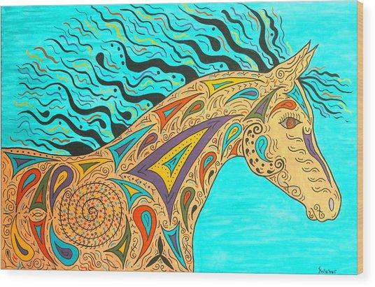 Tribal Carnival Spirit Horse Wood Print