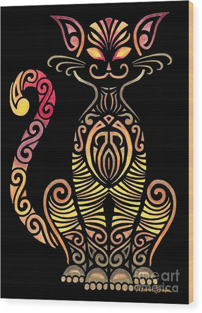 Tribal Cat Wood Print