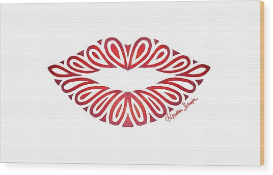 Tribal Lips Wood Print