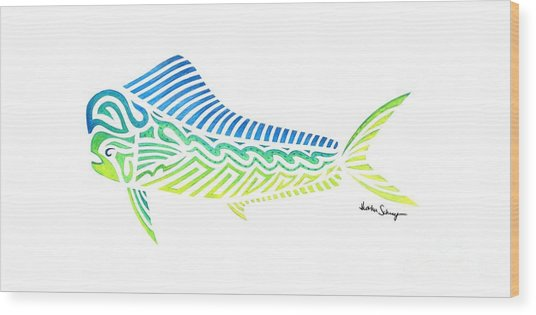 Tribal Mahi Mahi Wood Print