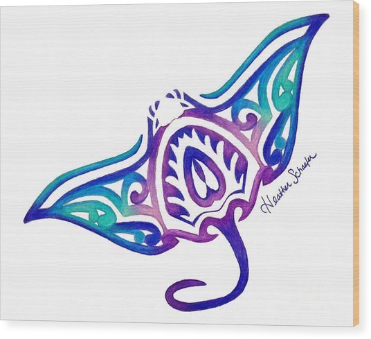 Tribal Manta Ray Wood Print