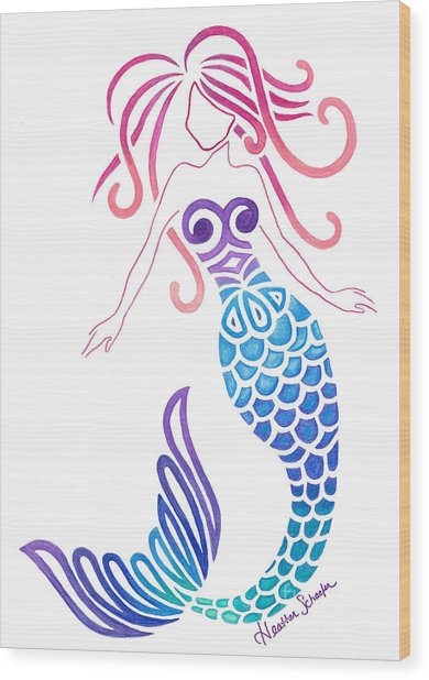 Tribal Mermaid Wood Print