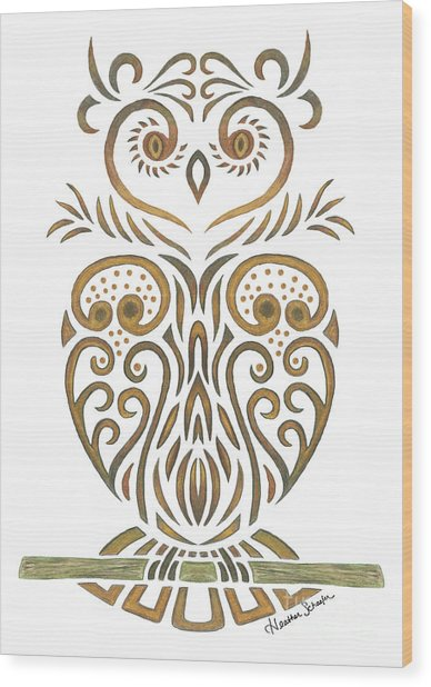Tribal Owl Wood Print