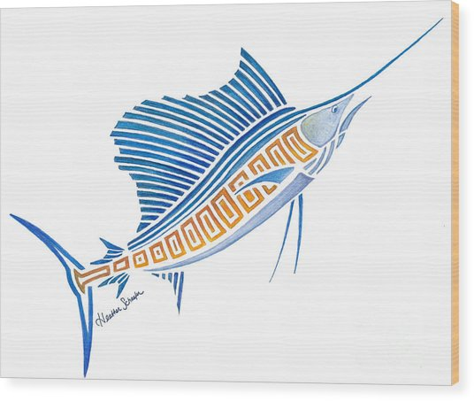 Tribal Sailfish Wood Print