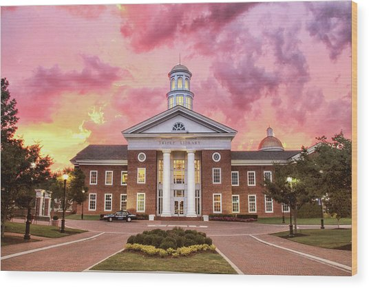 Trible Library Under A Crayola Sky Christopher Newport University  Wood Print
