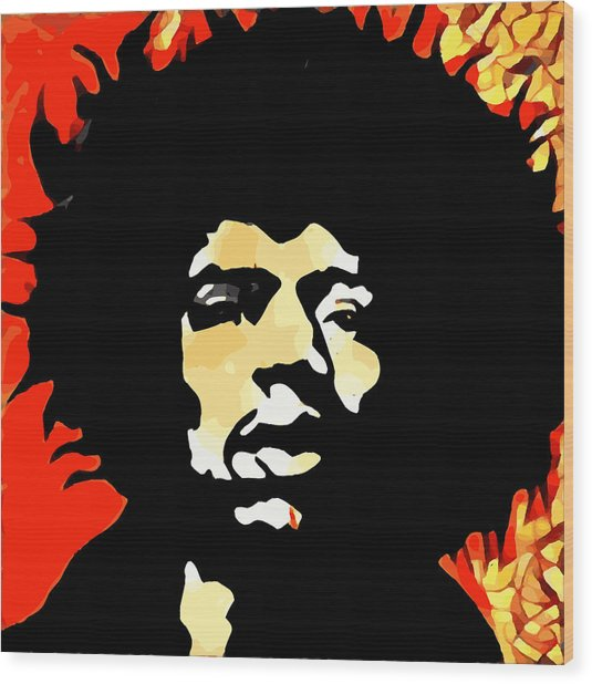 Tribute To Hendrix Wood Print