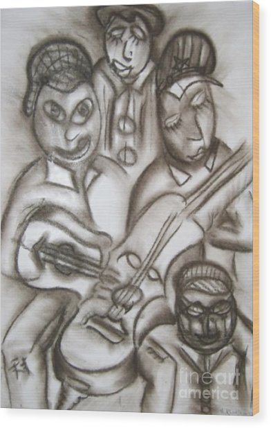 Tribute To The String Bass Wood Print