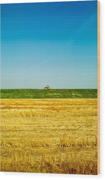 Tricolor With Tractor Wood Print