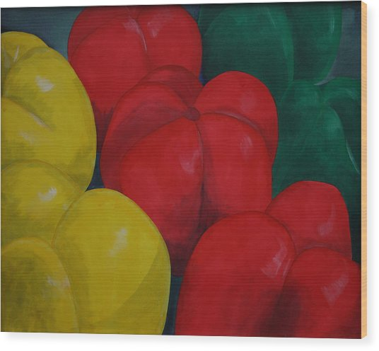 Tricolored Peppers Wood Print