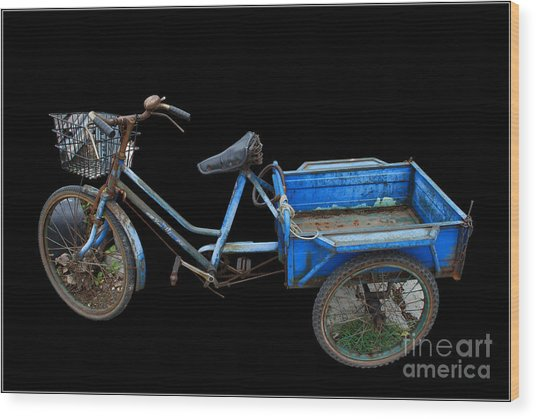 Tricycle In Blue Wood Print by Ty Lee