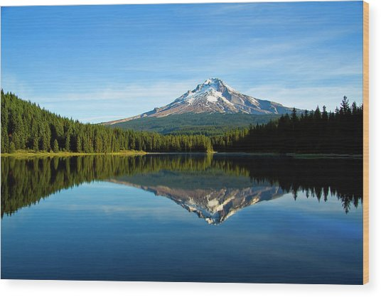 Trillium Lake Mt Hood Fall Wood Print