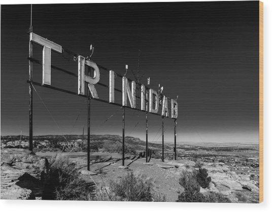Trinidad Colorado Sign Simpsons Rest Wood Print