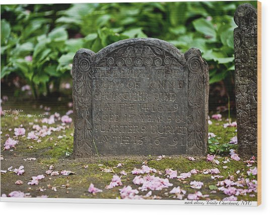 Trinity Church Tombstone Wood Print