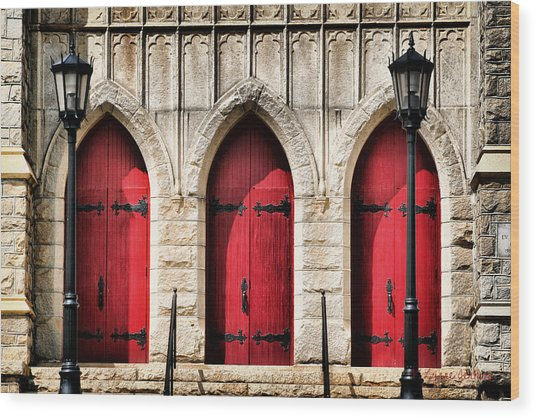 Trinity Lutheran Entrance Wood Print