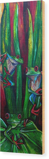 Trinity Of Tree Frogs Wood Print by Patti Schermerhorn