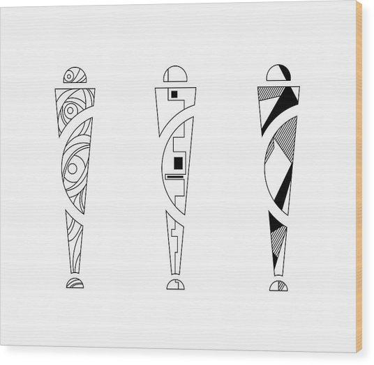 Trio. Art Nouveau Black/white Mix Fill. Wood Print