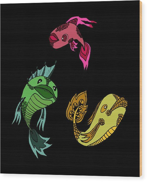 Trio Fish Wood Print