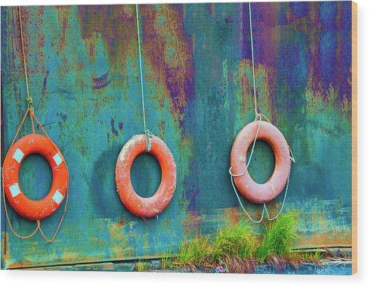 Trio Of Life Buoys Wood Print