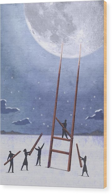 Trip To The Moon Wood Print