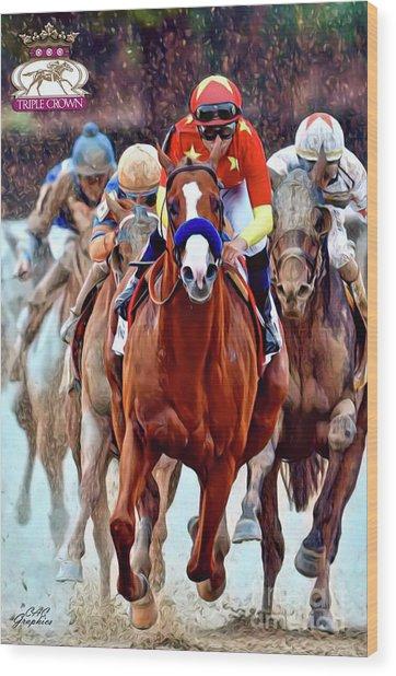 Triple Crown Winner Justify 2 Wood Print