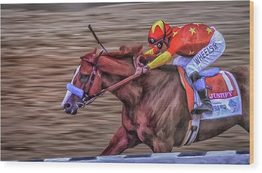 Triple Crown Winner Justify Wood Print