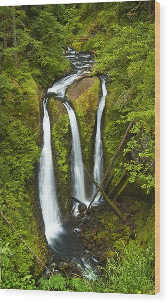 Wood Print featuring the photograph Triple Falls by Jon Ares